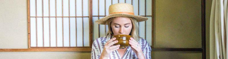 Traveller drinking tea in Kanazawa