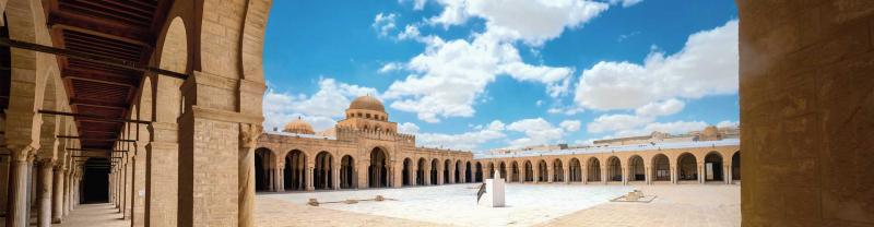 Ancient walls of Great Mosque in Kairouan city, Tunisia.