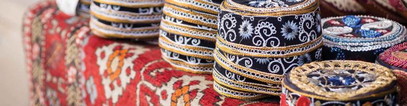 Traditional muslim hats sold at a local market stall in Baku, Azerbaijan