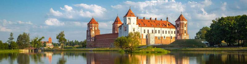 Belarus Mir castle reflects on the water