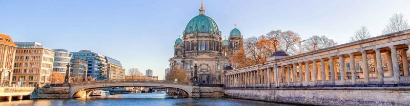 Berlin Cathedral and Museum Island reflected in Spree River, Berlin