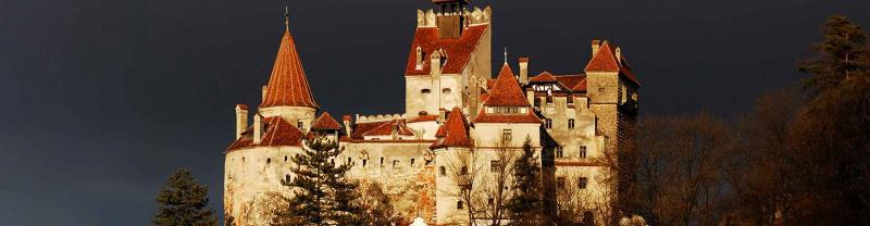 Night view of Bran Castle in Transylvania, Romania