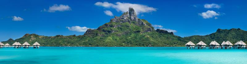 Bora Bora island with turquoise blue waters