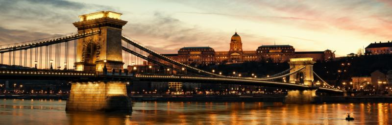 Hungary budapest night sunset bridge lights water river