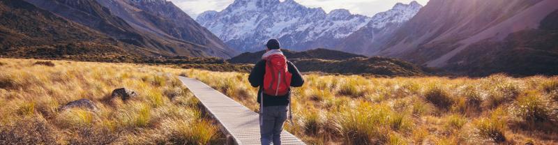 Traveller walking in Hooker Valley