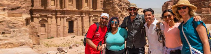 Group of travellers in Petra, Jordan with Intrepid Travel