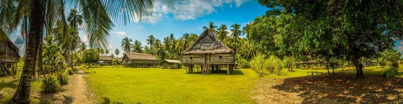 Local village in Avatip along the Sepik river in Papua New Guinea
