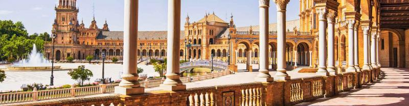 Architecture of Plaza de Espana in Seville, Spain