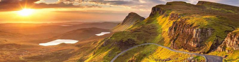 Scottish countryside at sunset