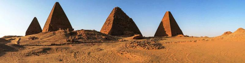 Sudan Jebel barkal pyramids in evening