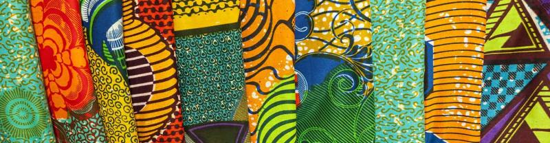 Colourful patterned fabric found in Ghana