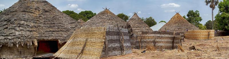 Traditional houses mage of straw in Guinea, Africa