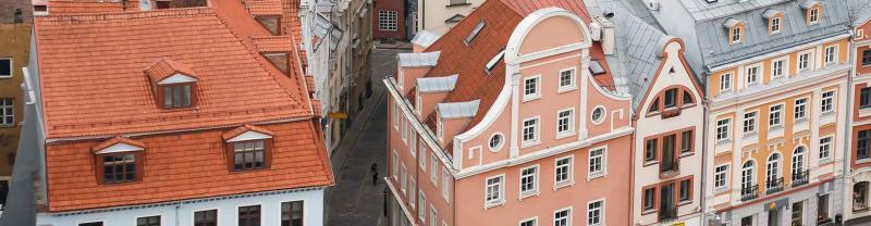 Aerial view of rooftops of old houses in Riga, Latvia