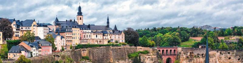 Views of buildings and bridge on cliffside of Luxembourg City