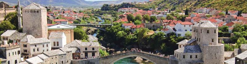 View over Stari Most Bridge and cobbled buildings in the town of Mostar, Bosnia