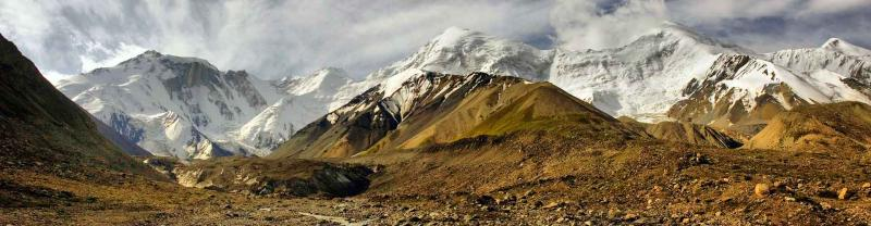 panorama of high mountains of Bayankol gorge in Central Tien Shan, Kazakhstan