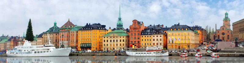 Boats in the harbour of Sweden's Old Town Gamla Stan, Stockholm