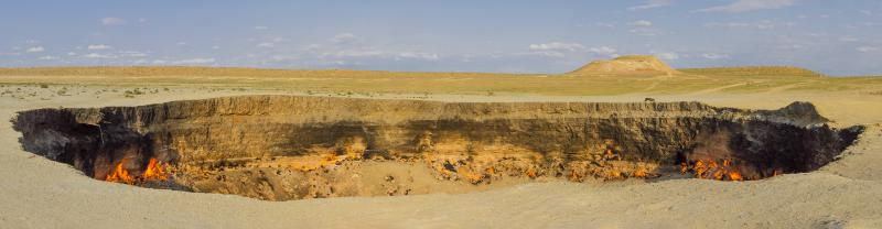 Panorama of the Darvaza Gas Crater, Turkmenistan