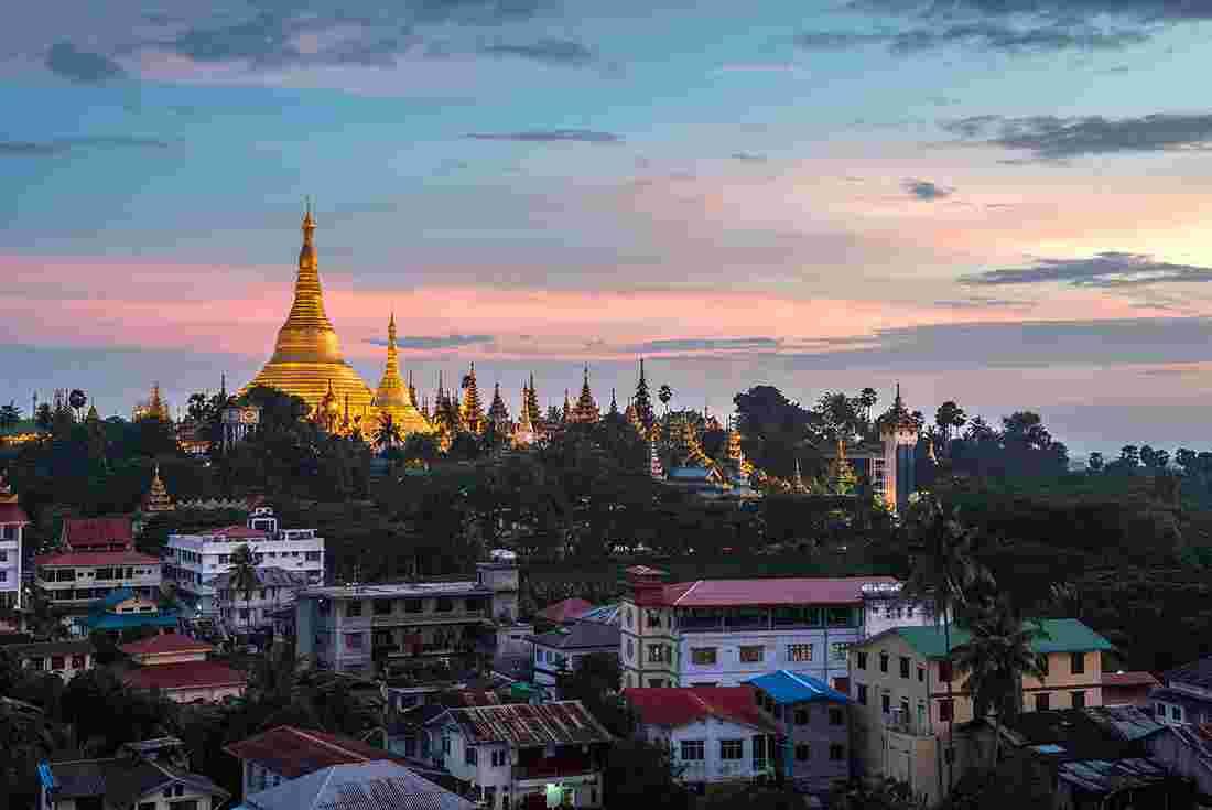 Sunset Over Yangon In Myanmar