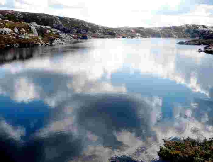 norway mountain bergen mt floyen lake reflection river sky