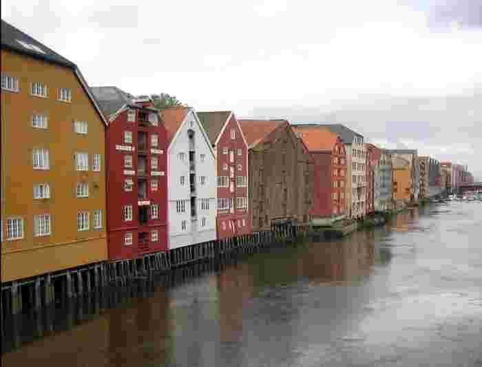 norway trondheim nidelva river waterside seaside houses huts