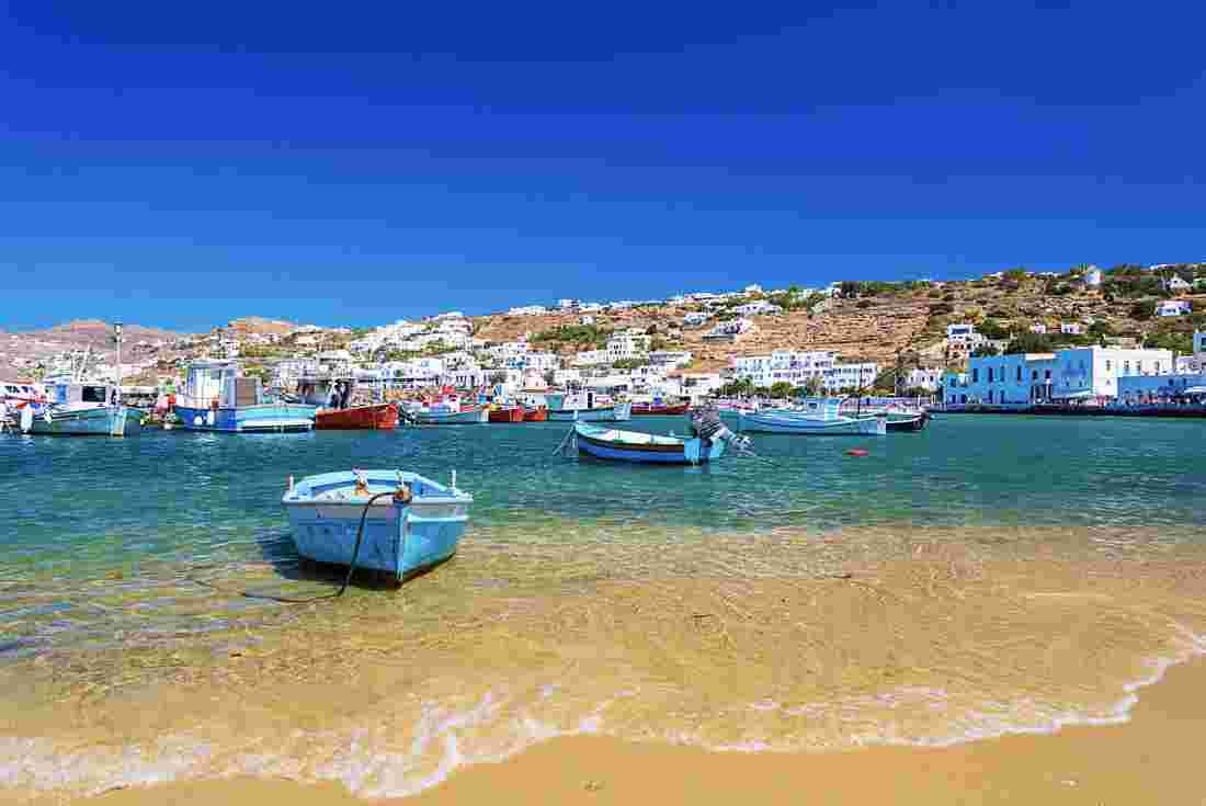 Boats in the turquoise water of Mykonos in Greece
