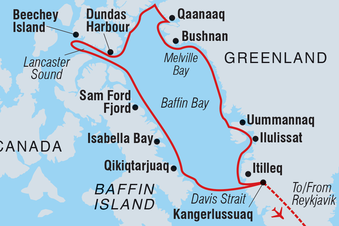 Best of the Western Arctic: Canada and Greenland | Intrepid Travel Blank Map Of Baffin Bay on blank map of the gulf of mexico, blank map of english channel, blank map of sea of japan, blank map of lower michigan, blank map of arctic circle, blank map of bering strait, blank map of caribbean sea,