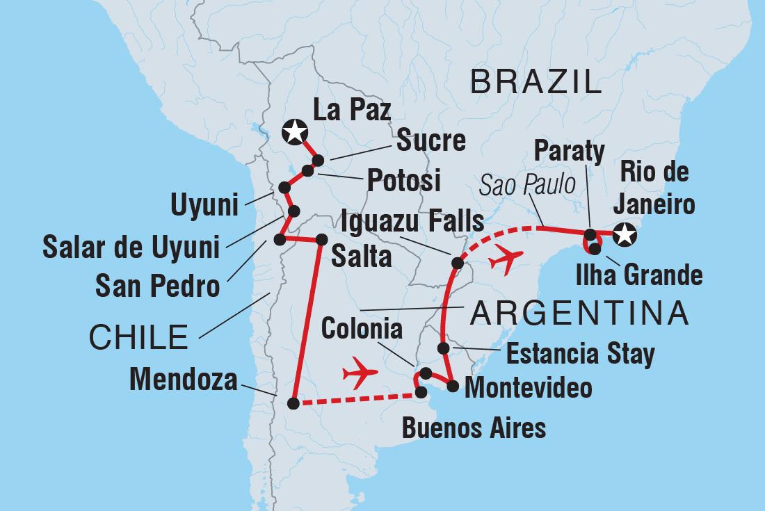 Bolivia To Brazil Explorer Bolivia Tours Intrepid Travel - Argentina chile map