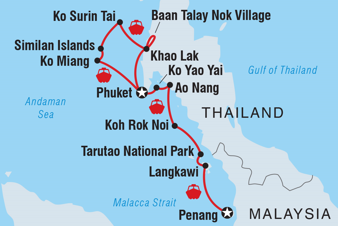 Map Of Cruising Thailand Malaysia Southbound Et To Penang Including And