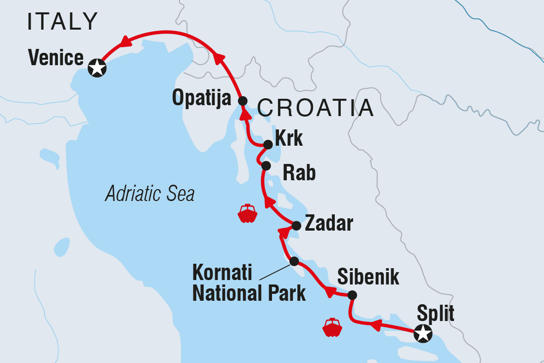 Map Of Northern Italy And Croatia.Cruising Croatia S Northern Coast Islands Split To Venice Intrepid Travel