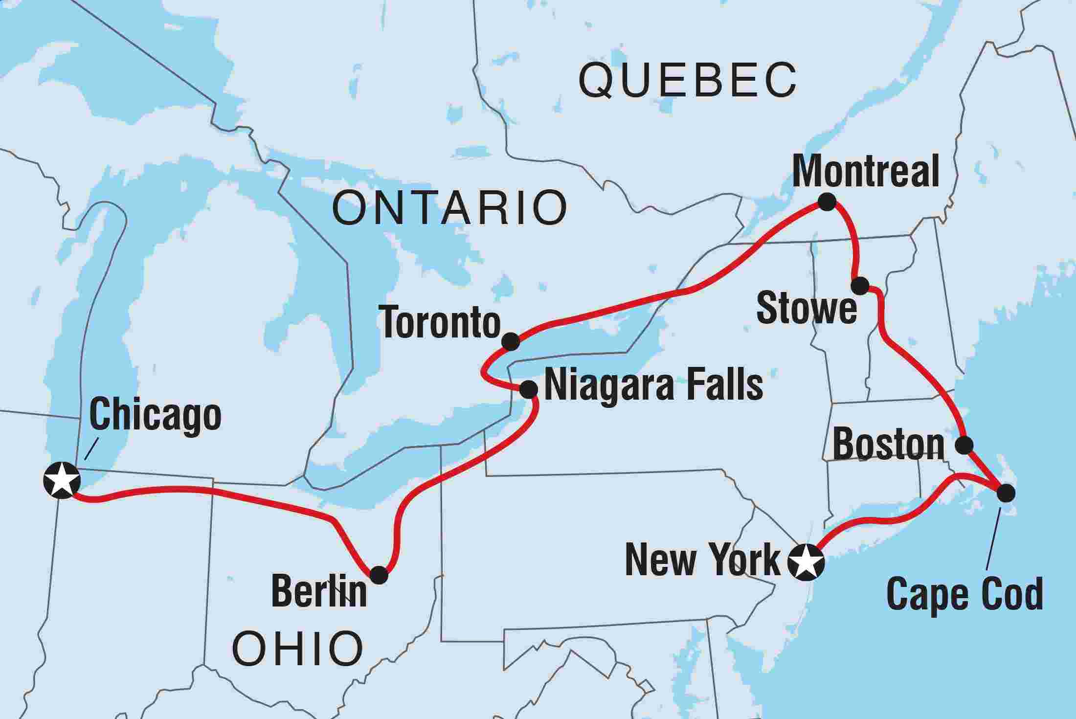 Map Of United States Of America And Canada.Us Canada Discovery Intrepid Travel