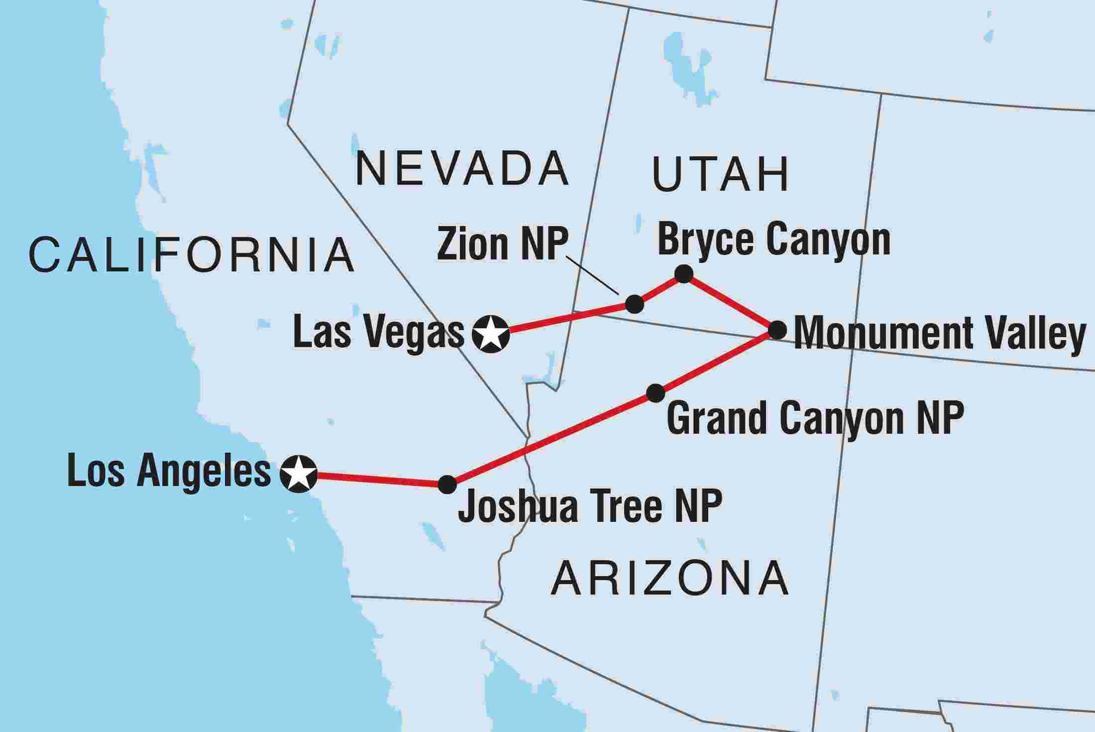 Map Of America Los Angeles.Vegas To La Grand National Parks Intrepid Travel