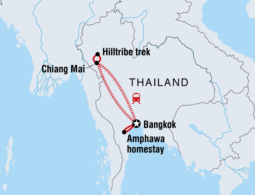Thailand tours travel intrepid travel au map of thailand family holiday with teenagers including thailand solutioingenieria Image collections