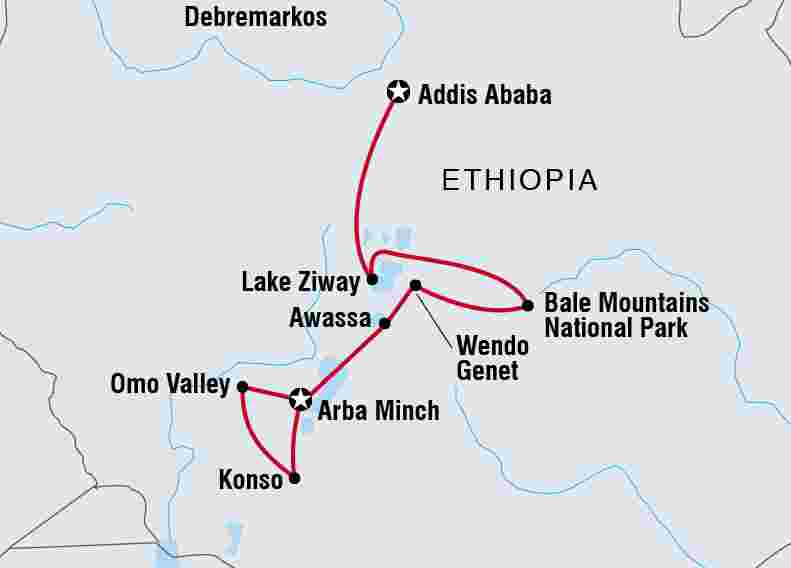 View Trip Map Of Omo To Addis Including Ethiopia