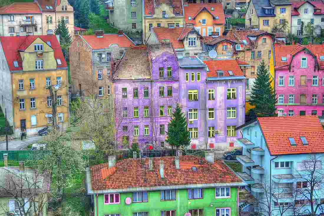View over charming colourful buildings in sarajevo bosnia