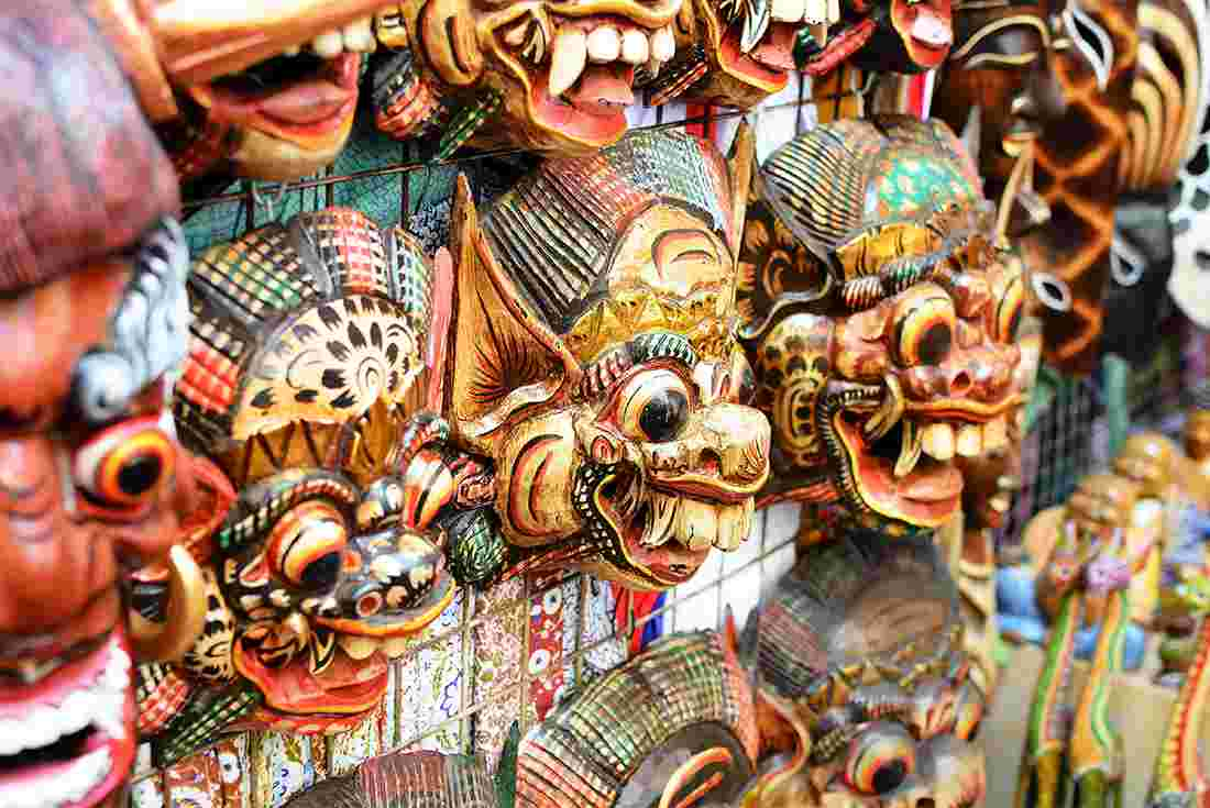 Indonesia Tours Travel Intrepid Us Balinese Traditional Market Masks And Handicrafts Sold At In Ubud Bali