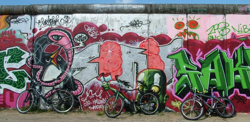Berlin Wall street art and bicycles