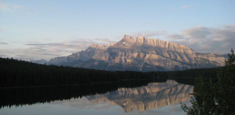 reflection of mountain in a lake from canada