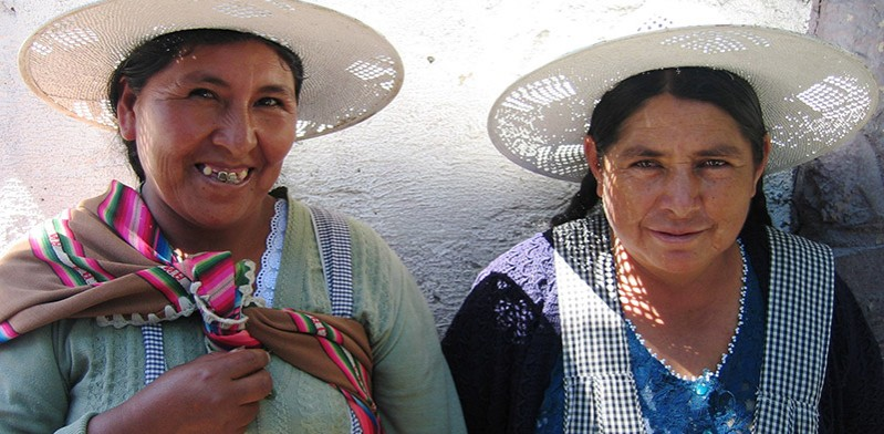 Women at market in Bolivia