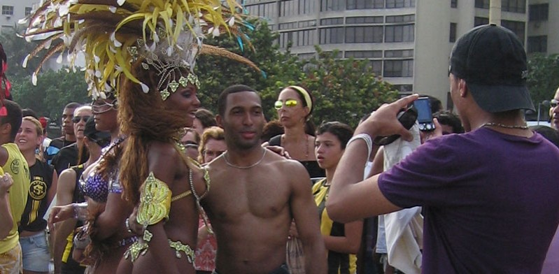 rio festival party-goers posing for a photo in brazil