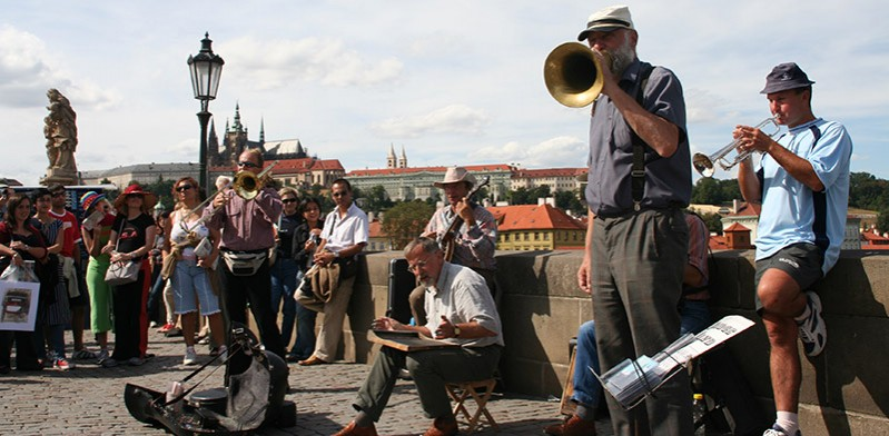 Street musicians in Prague Czech Republic