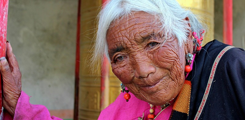 Elderly pilgrim in Tibet
