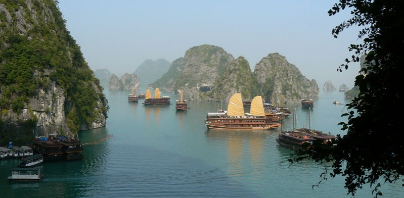 boats floating in halong bay in vietnam