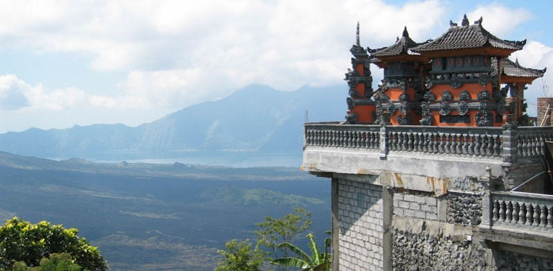 balinese temple overlooking lake batur