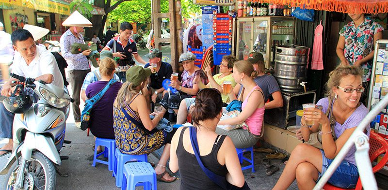Hanoi street beer stall Vietnam