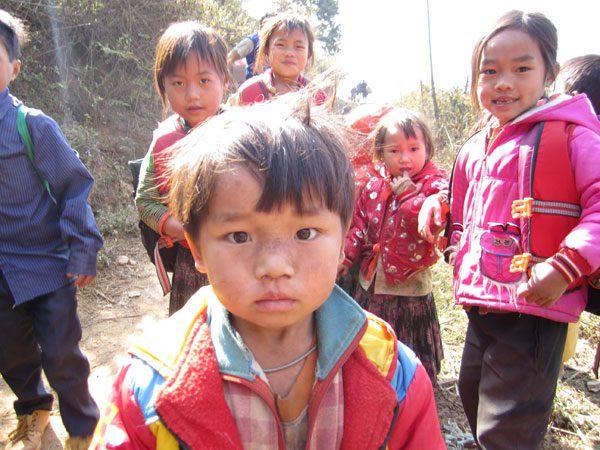 children standing outside in Dien Bien