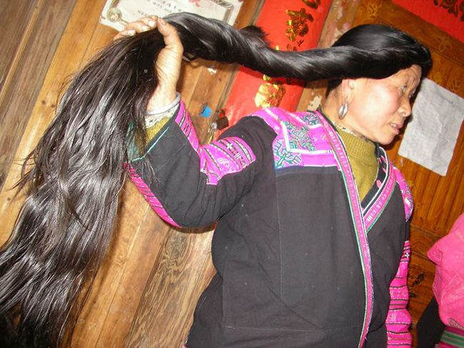 yao woman with long hair in longji china