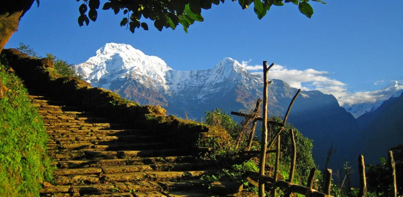 Mountain view from walking trail in Nepal