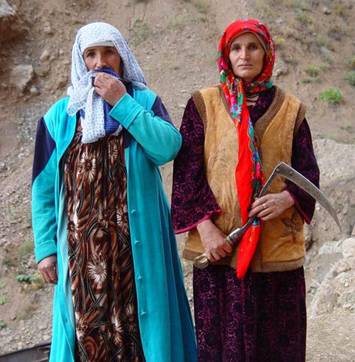 Tajikistan women wearing colourful headscarves