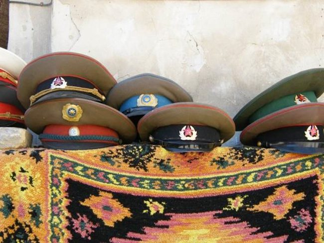Soviet military caps for sale in Bukhara Uzbekistan